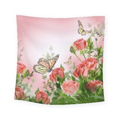 Flora Butterfly Roses Square Tapestry (Small)