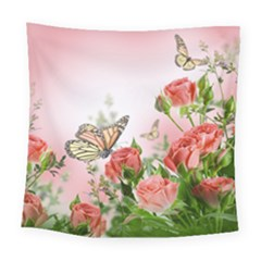Flora Butterfly Roses Square Tapestry (large)