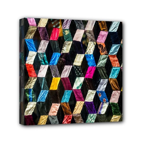 Abstract Multicolor Cubes 3d Quilt Fabric Mini Canvas 6  X 6