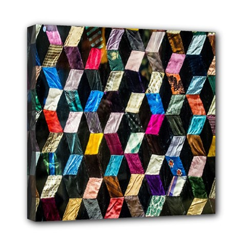 Abstract Multicolor Cubes 3d Quilt Fabric Mini Canvas 8  x 8