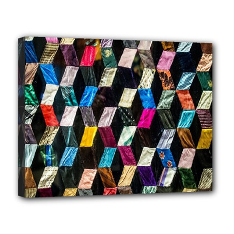 Abstract Multicolor Cubes 3d Quilt Fabric Canvas 14  x 11
