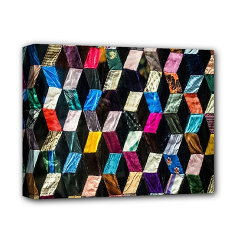 Abstract Multicolor Cubes 3d Quilt Fabric Deluxe Canvas 14  x 11