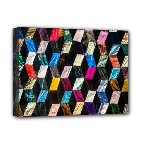 Abstract Multicolor Cubes 3d Quilt Fabric Deluxe Canvas 16  x 12
