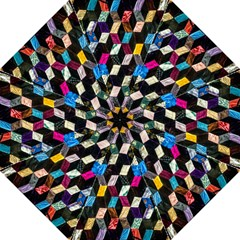 Abstract Multicolor Cubes 3d Quilt Fabric Hook Handle Umbrellas (Large)