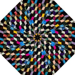 Abstract Multicolor Cubes 3d Quilt Fabric Hook Handle Umbrellas (Small)