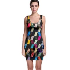 Abstract Multicolor Cubes 3d Quilt Fabric Sleeveless Bodycon Dress
