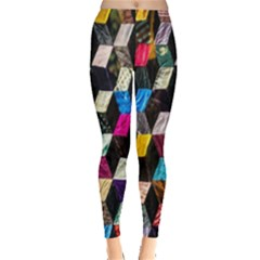 Abstract Multicolor Cubes 3d Quilt Fabric Leggings