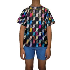 Abstract Multicolor Cubes 3d Quilt Fabric Kids  Short Sleeve Swimwear