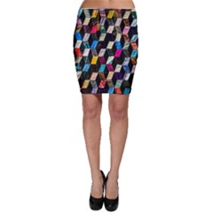 Abstract Multicolor Cubes 3d Quilt Fabric Bodycon Skirt
