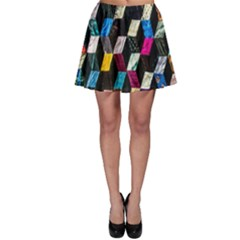 Abstract Multicolor Cubes 3d Quilt Fabric Skater Skirt