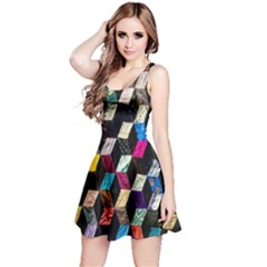 Abstract Multicolor Cubes 3d Quilt Fabric Reversible Sleeveless Dress