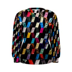 Abstract Multicolor Cubes 3d Quilt Fabric Women s Sweatshirt