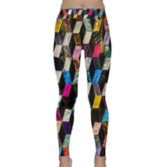 Abstract Multicolor Cubes 3d Quilt Fabric Classic Yoga Leggings