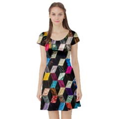 Abstract Multicolor Cubes 3d Quilt Fabric Short Sleeve Skater Dress