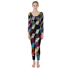 Abstract Multicolor Cubes 3d Quilt Fabric Long Sleeve Catsuit