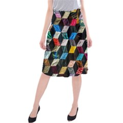 Abstract Multicolor Cubes 3d Quilt Fabric Midi Beach Skirt