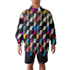 Abstract Multicolor Cubes 3d Quilt Fabric Wind Breaker (Kids)