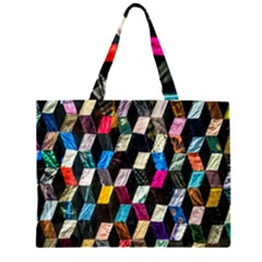 Abstract Multicolor Cubes 3d Quilt Fabric Large Tote Bag