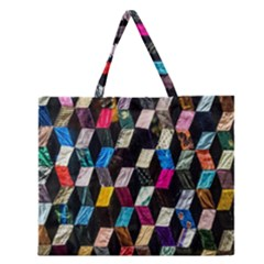 Abstract Multicolor Cubes 3d Quilt Fabric Zipper Large Tote Bag