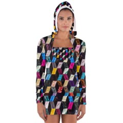 Abstract Multicolor Cubes 3d Quilt Fabric Women s Long Sleeve Hooded T Shirt