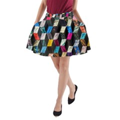 Abstract Multicolor Cubes 3d Quilt Fabric A Line Pocket Skirt