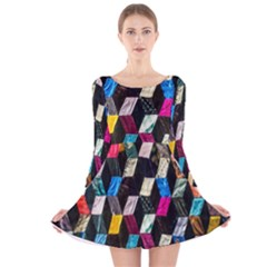 Abstract Multicolor Cubes 3d Quilt Fabric Long Sleeve Velvet Skater Dress