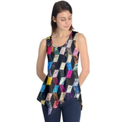 Abstract Multicolor Cubes 3d Quilt Fabric Sleeveless Tunic