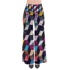 Abstract Multicolor Cubes 3d Quilt Fabric Pants