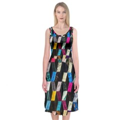 Abstract Multicolor Cubes 3d Quilt Fabric Midi Sleeveless Dress