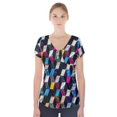 Abstract Multicolor Cubes 3d Quilt Fabric Short Sleeve Front Detail Top