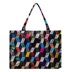 Abstract Multicolor Cubes 3d Quilt Fabric Medium Tote Bag