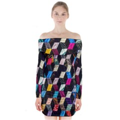 Abstract Multicolor Cubes 3d Quilt Fabric Long Sleeve Off Shoulder Dress