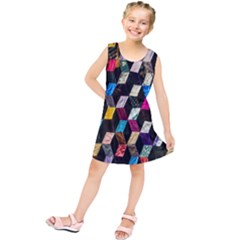 Abstract Multicolor Cubes 3d Quilt Fabric Kids  Tunic Dress