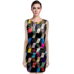 Abstract Multicolor Cubes 3d Quilt Fabric Sleeveless Velvet Midi Dress