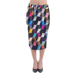 Abstract Multicolor Cubes 3d Quilt Fabric Velvet Midi Pencil Skirt