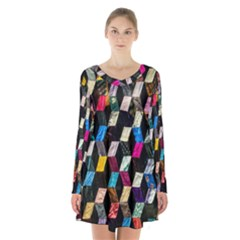Abstract Multicolor Cubes 3d Quilt Fabric Long Sleeve Velvet V Neck Dress