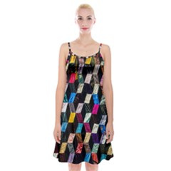 Abstract Multicolor Cubes 3d Quilt Fabric Spaghetti Strap Velvet Dress