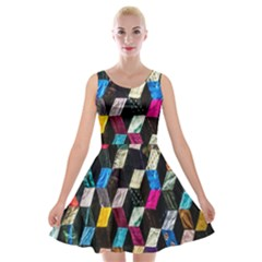 Abstract Multicolor Cubes 3d Quilt Fabric Velvet Skater Dress