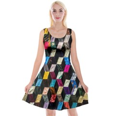 Abstract Multicolor Cubes 3d Quilt Fabric Reversible Velvet Sleeveless Dress