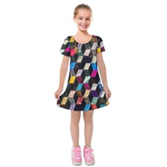 Abstract Multicolor Cubes 3d Quilt Fabric Kids  Short Sleeve Velvet Dress