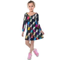 Abstract Multicolor Cubes 3d Quilt Fabric Kids  Long Sleeve Velvet Dress
