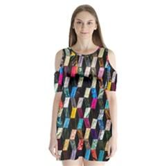 Abstract Multicolor Cubes 3d Quilt Fabric Shoulder Cutout Velvet  One Piece