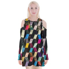 Abstract Multicolor Cubes 3d Quilt Fabric Velvet Long Sleeve Shoulder Cutout Dress