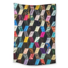 Abstract Multicolor Cubes 3d Quilt Fabric Large Tapestry