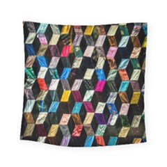Abstract Multicolor Cubes 3d Quilt Fabric Square Tapestry (Small)