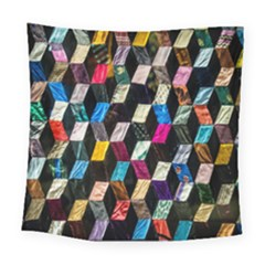 Abstract Multicolor Cubes 3d Quilt Fabric Square Tapestry (large)