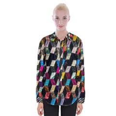 Abstract Multicolor Cubes 3d Quilt Fabric Shirts