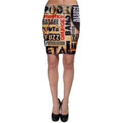 Guitar Typography Bodycon Skirt