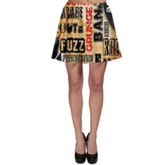 Guitar Typography Skater Skirt