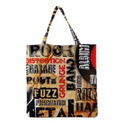 Guitar Typography Grocery Tote Bag